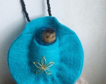 Gnomeling Baby Gnome Felted Necklace