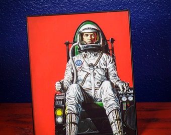 8 x 10 ASTRONAUT Print with Frame vintage space illustration drawing  poster