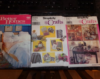 Lot of three home accessory and craft patterns