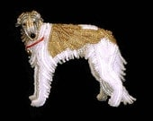 BORZOI beaded Russian Wolfhound dog pin brooch - Jewelry gift for Her (Made to Order) Free US Shipping