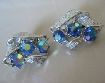 Blue Aurora Earrings Clip Vintage Silver Rhinestone AB