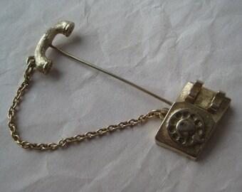 Phone Stick Pin Gold Vintage Avon Telephone