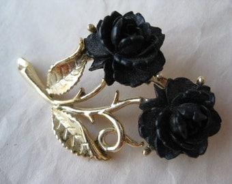 Rose Black Brooch Flower Gold Pin Vintage Plastic