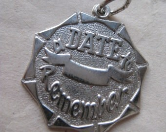 A Date To Remember Sterling Charm Silver Vintage 925