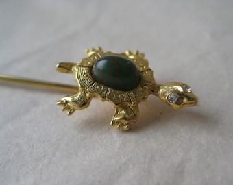 Turtle Green Cab Gold Stick Pin Glass Rhinestone Vintage Lapel