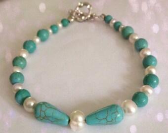 HONORA Pearl and MAGNESITE  Bracelet