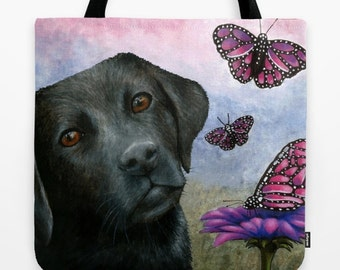 Tote Bag Dog 130 black Labrador Butterfly All over print from art painting L.Dumas Artbylucie Totes