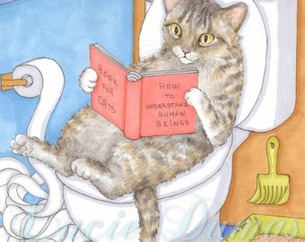 Archival Art Print Cat 535 from funny bathroom art painting by Lucie Dumas