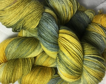 Yellow and Grey Hand Dyed 8ply DK Merino Wool
