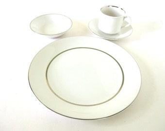 Six Settings Vintage Silver Elegance (England) by Salem Dinnerware Set, Dinner and Salad Plates