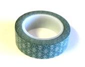 Starburst Washi Tape,  Green White, 15mm x 10m (over 32 ft.), Scrap Booking, Crafting