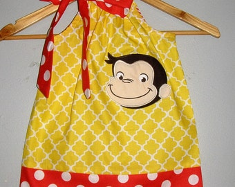 Curious George Dress Red includes Monogram yellow red applique pillowcase dress 3 6,9,12 18 month 2t, 3t,4t 5t,6,7,8,10