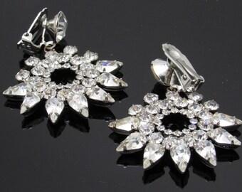 Long Rhinestone Earrings D&E Juliana Jewelry Star Flower E7393