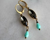 Black Crystal Earrings, Turquoise Dangles, Romantic, Vintage Crystal, Czech Glass Drops