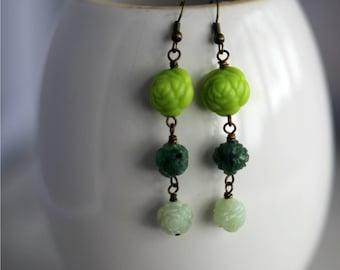 Green Floral Earrings, Mint Green Dangles, Forest, Jade, Kelly Green, Bohemian Flower Earrings