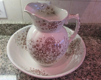 Price reduced..Vintage Hanley (England) ironstone pitcher -brown transferware,wash bowl- Hanley, England- solid, great condition, minor wear