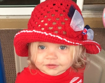 Baby Girls Sunhat, Red Sunhat, Baby Girls Beach Hat, Organic Cotton Sunhat Sun Hat for Toddlers, Hats for Girls, Hats for Baby