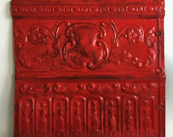 """Antique Salvaged Decorative Tin Ceiling Tile 25"""" x 25"""" Craft Project 26104-16i Red Metal"""