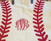 Monogramed Baseball Tote