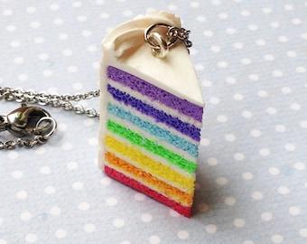 Handmade Rainbow Cake Charm - Available on Necklace or Clasp