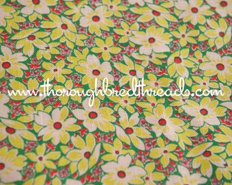 Lime Green Daisies - Vintage Fabric Fun New Old Stock Novelty Mod Garden