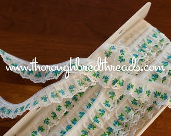 Blue Rose Lace Ruffle - 3 yards Vintage Fabric Trim New Old Stock Doll Making