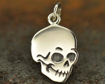 Flat Skull Necklace - Solid 925 Sterling Silver Halloween Charm - Insurance Included
