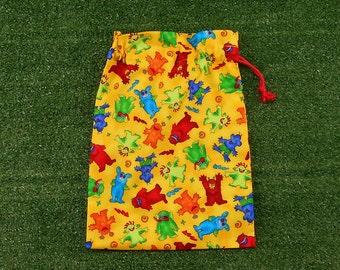 Monsters small drawstring bag, kids yellow toy bag, gift bag, treasure bag