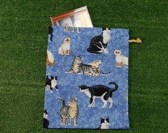 Cats small drawstring bag, pets gift bag, small cotton bag for cat lovers