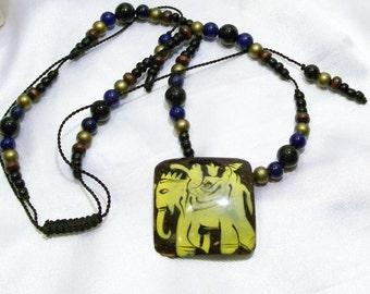Funky Tribal Eccentric Coconut Shell Hand Painted  Elephant Black Gemstones Adjustable Necklace Sri sukta