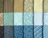 Japanese cotton prints - 16 blue and green fat eighths