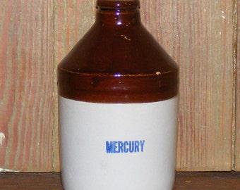 Antique Chemist or Apothecary Bottle Stoneware Mercury Flask Jug Crock
