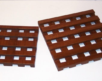 Wood TRIVETS - Set of 2--Handcrafted from Mahogany hardwood