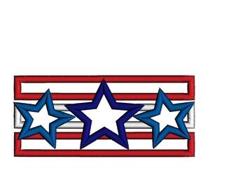 Patriotic  Star Bar  Applique Shirt