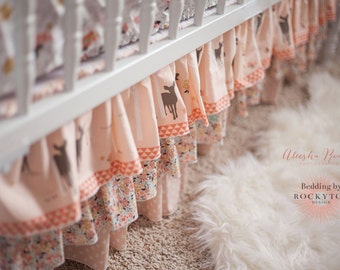 2 or 3 Tier Ruffled Crib Skirt in fabrics of your choice