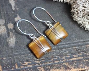 Tigereye Earrings Silver Wire Wrapped Honey Gold Gemstone Earrings Sterling Silver Square Bead Earrings