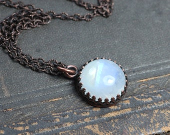 Moonstone Necklace Crown Setting Antiqued Copper Chain Rainbow Moonstone Cabochon Necklace