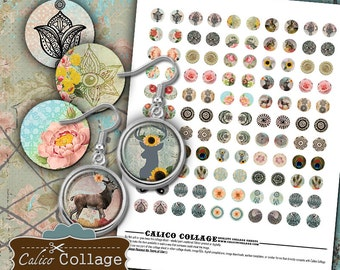 Boho - 14mm size Circles Digital Collage Sheet for Earrings Pendants Bracelets Rings Cufflinks Calico Collage Bohemian Images