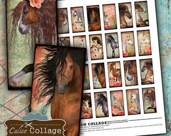 Wild Horses 1X2 Domino Digital Collage Sheet - Wild Horses Images - Horse Collage Sheet - Horse Domino Collage Sheet - Jewelry Supply