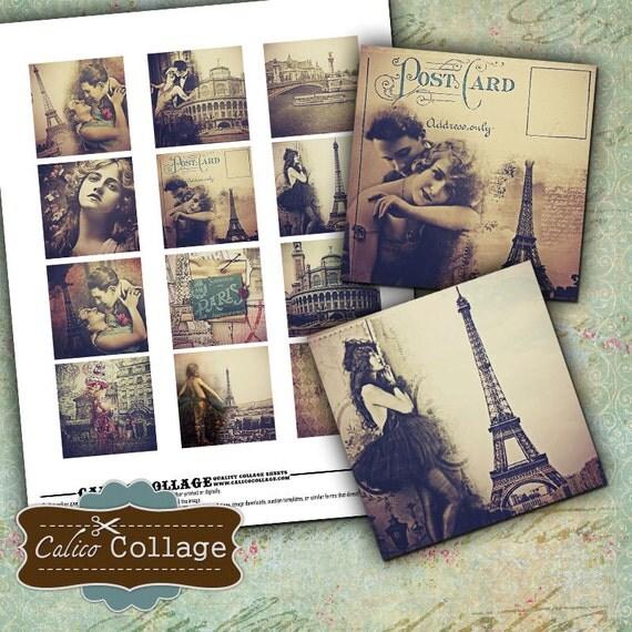 Paris Dreams, 2x2 Inch Squares, Collage Sheet, Instant Download, Printable Images, 2x2 collage sheet, Burlesque Images, Printable Ephemera
