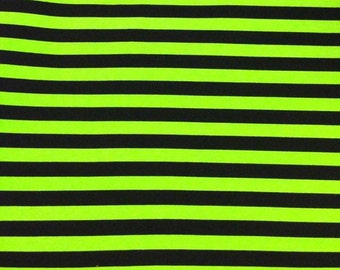 Knit monsters green with black stripes 1 yard