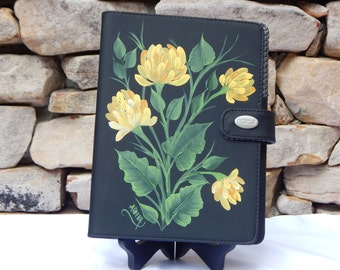 Hand Painted Black Vinyl Notebook with Yellow Chrysanthemums