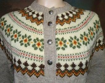 Vtg LULLE OTTERSTAD Oslo Hand knit Cardigan Sweater sz M to L