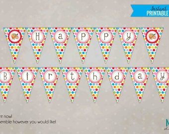 Children's Art Birthday Banner, Painting Party Custom Printable Pennant Banner, Party Decoration #B102