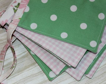 Fabric Banner Green Pink 4 ft Vintage Cloth Floral Bunting Gingham Dots Spring Nursery
