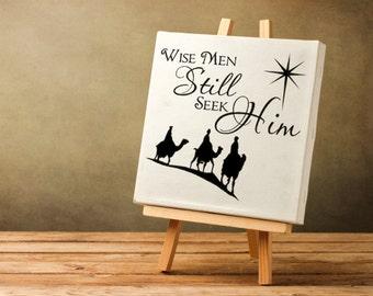 Christmas Decorations Wisemen Still Seek Him Desert Star DIY Christmas Decal Vinyl Wall Decal, Charger Plate Glass Block Tile Decal