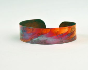 Etched Copper Cuff Bracelet - Hares design - slim size