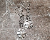 Fine Silver Script Discs with Small Pearls on Sterling Silver Chain and Earwires
