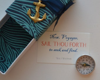 Voyager Message Box with miniature compass and Fabric Gift Bag