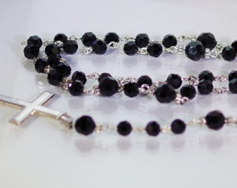 Swarovski Crystal and Sterling Silver Rosary - Catholic, Anglican, Jewish - Made to Order